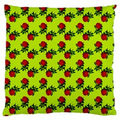 Red Roses Lime Green Standard Flano Cushion Case (one Side) by snowwhitegirl