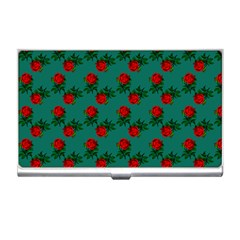 Red Roses Teal Green Business Card Holder