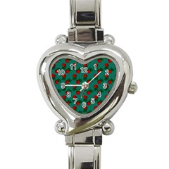 Red Roses Teal Green Heart Italian Charm Watch