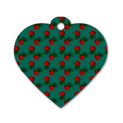 Red Roses Teal Green Dog Tag Heart (one Side) by snowwhitegirl