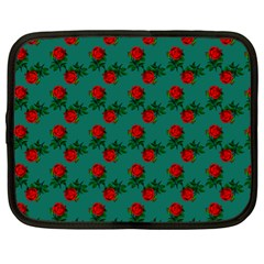 Red Roses Teal Green Netbook Case (xl) by snowwhitegirl