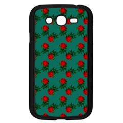 Red Roses Teal Green Samsung Galaxy Grand Duos I9082 Case (black)