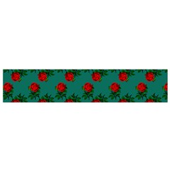 Red Roses Teal Green Small Flano Scarf