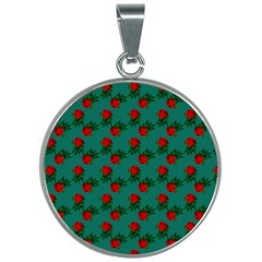 Red Roses Teal Green 30mm Round Necklace by snowwhitegirl