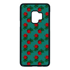 Red Roses Teal Green Samsung Galaxy S9 Seamless Case(black)