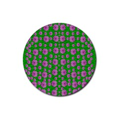 Bloom In Peace And Love Rubber Coaster (round)  by pepitasart
