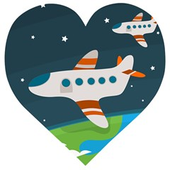 Plane Aircraft Flight Wooden Puzzle Heart