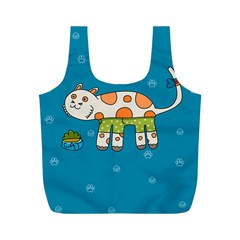Paint Kitten Cats Cat Cute Paw Full Print Recycle Bag (m) by Simbadda