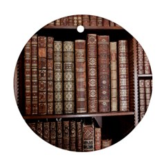 Library Books Knowledge Round Ornament (two Sides)