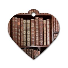 Library Books Knowledge Dog Tag Heart (two Sides) by Simbadda