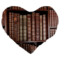 Library Books Knowledge Large 19  Premium Heart Shape Cushions