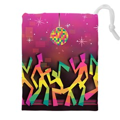 Dancing Colorful Disco Drawstring Pouch (xxxl) by Bajindul