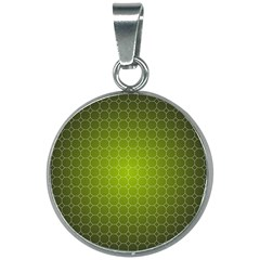 Hexagon Background Plaid 20mm Round Necklace