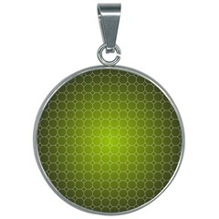 Hexagon Background Plaid 30mm Round Necklace by Mariart