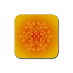 Fractal Yellow Orange Rubber Coaster (square)