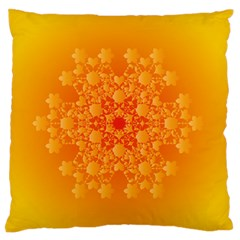 Fractal Yellow Orange Large Flano Cushion Case (two Sides) by Jojostore