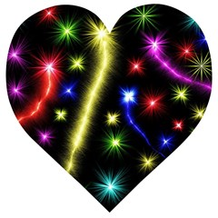 Fireworks Star Light Wooden Puzzle Heart