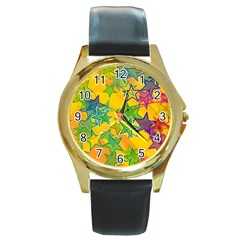 Star Homepage Abstract Round Gold Metal Watch