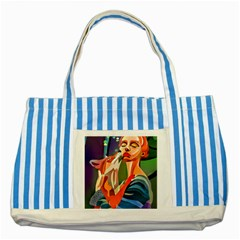 #art #illustration #drawing #infinitepainter #artist #sketch #mirrorart #jwildfire #mirrorlab #galle Webp Net Resizeimage (8) Striped Blue Tote Bag by soulone