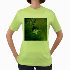 Sport, Surfboard With Flowers And Fish Women s Green T Shirt by FantasyWorld7