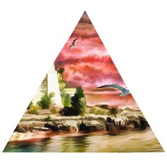 Lighthouse Ocean Sunset Seagulls Wooden Puzzle Triangle