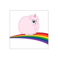 Pink Fluffy Unicorns Dancing On Rainbows Drawing Satin Bandana Scarf by Sudhe
