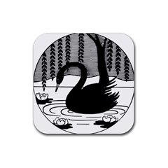 Vintage Swan Bird Nature Water Rubber Square Coaster (4 Pack)
