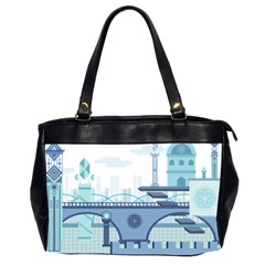 Blue City Building Fantasy Oversize Office Handbag (2 Sides) by Sudhe