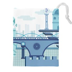 Blue City Building Fantasy Drawstring Pouch (xxxl) by Sudhe