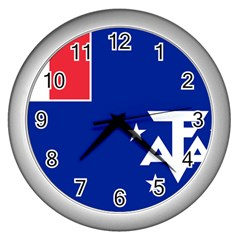 Flag Of The French Southern And Antarctic Lands, 1958 Wall Clock (silver) by abbeyz71