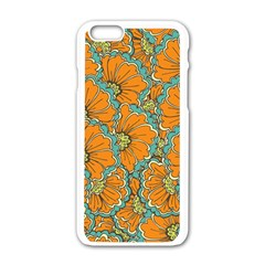 Orange Summer Flowers Iphone 6/6s White Enamel Case