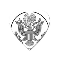 Black & White Great Seal Of The United States - Obverse  Heart Magnet by abbeyz71