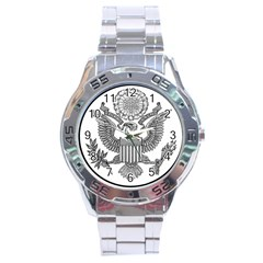 Black & White Great Seal Of The United States   Obverse  Stainless Steel Analogue Watch by abbeyz71