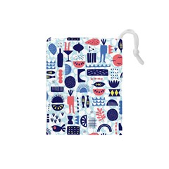 Vector Illustrated Pattern Design Drawstring Pouch (small) by Sudhe