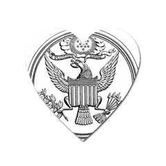 Black & White Great Seal Of The United States - Obverse, 1877 Heart Magnet by abbeyz71