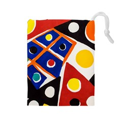 Pattern And Decoration Revisited At The East Side Galleries Drawstring Pouch (large)