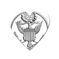 Black & White Great Seal Of The United States - Obverse, 1782 Heart Magnet by abbeyz71