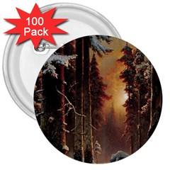 Sunset In The Frozen Winter Forest 3  Buttons (100 Pack)