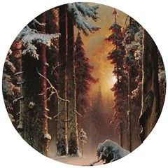 Sunset In The Frozen Winter Forest Wooden Puzzle Round by Sudhe