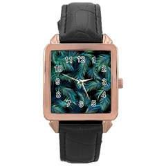 Palms Pattern Design Rose Gold Leather Watch