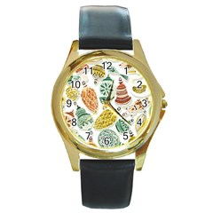 Surface Pattern  Vintage Christmas Ornaments Round Gold Metal Watch