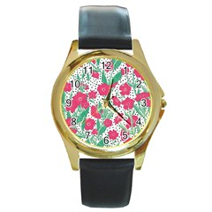 Flora Floral Flower Flowers Pattern Round Gold Metal Watch