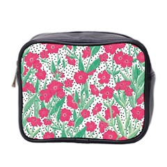 Flora Floral Flower Flowers Pattern Mini Toiletries Bag (two Sides)
