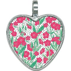 Flora Floral Flower Flowers Pattern Heart Necklace