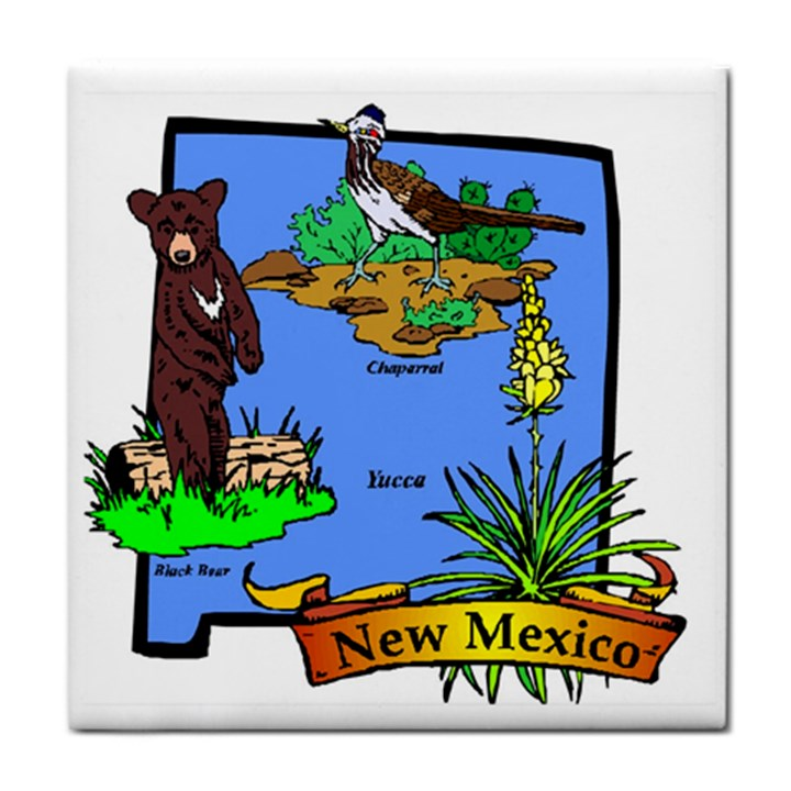 New Mexico State Symbols Tile Coaster Cowcow