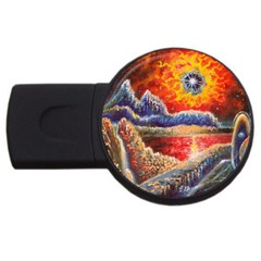 Sci Fi  Landscape Painting Usb Flash Drive Round (2 Gb)