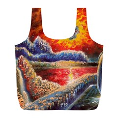 Sci Fi  Landscape Painting Full Print Recycle Bag (l)