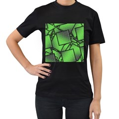 Binary Digitization Null Green Women s T Shirt (black) (two Sided)