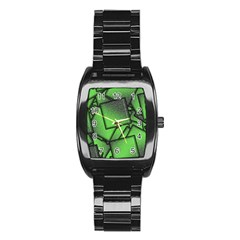 Binary Digitization Null Green Stainless Steel Barrel Watch