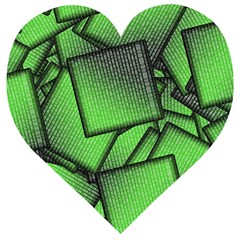 Binary Digitization Null Green Wooden Puzzle Heart